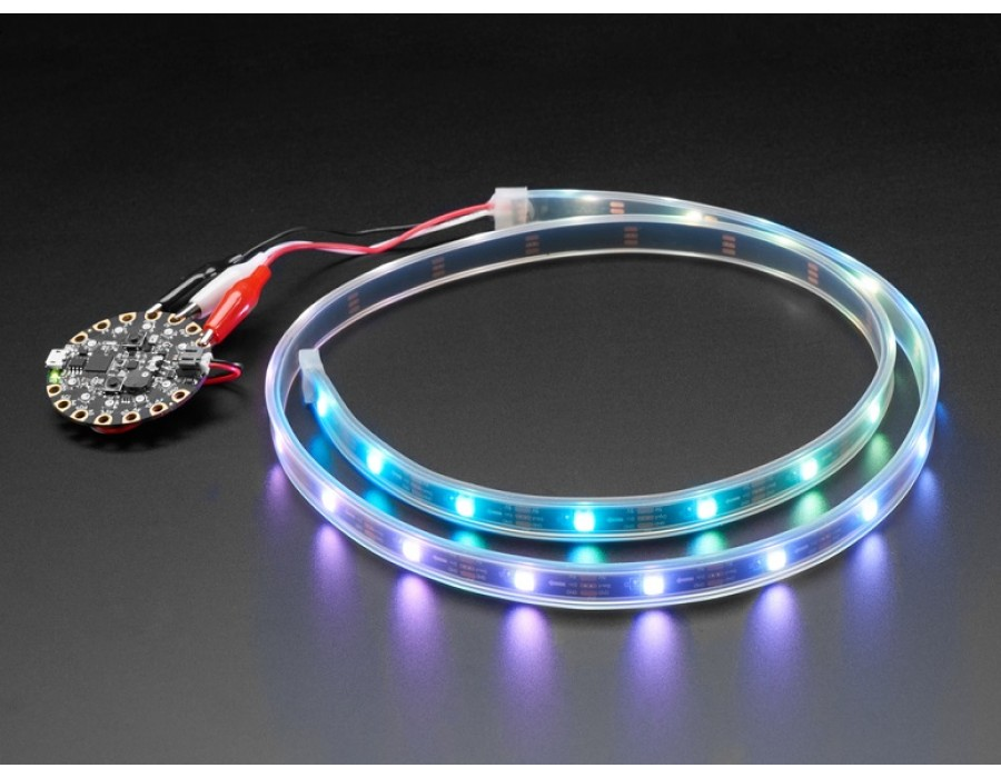 Adafruit 3812 NeoPixel LED Strip w/ Alligator Clips - 30 LEDs/meter - 1  Meter - BLACK