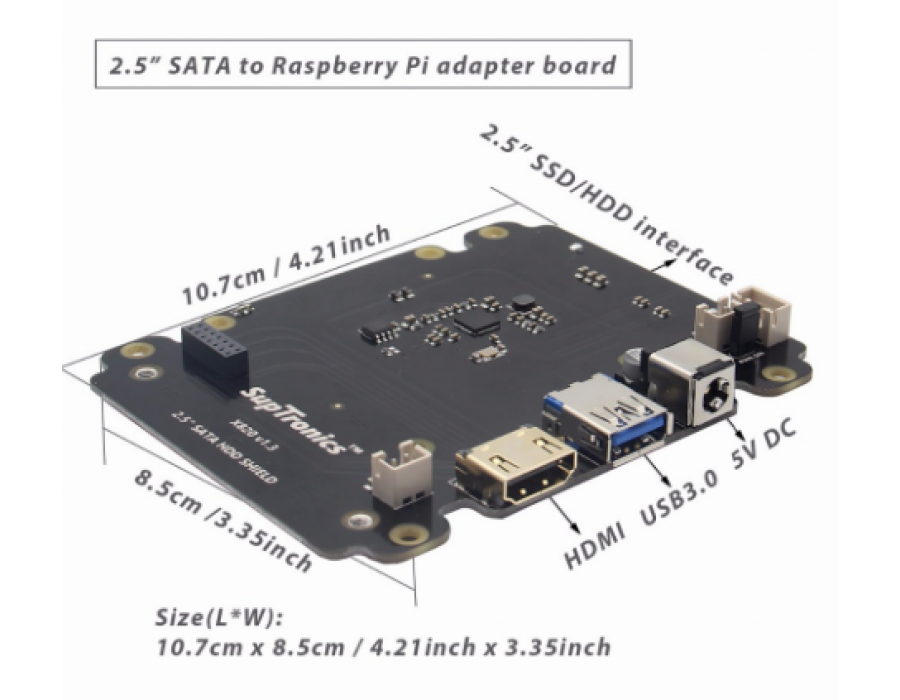 SATA HDD/SSD Storage Expansion Board for Raspberry Pi