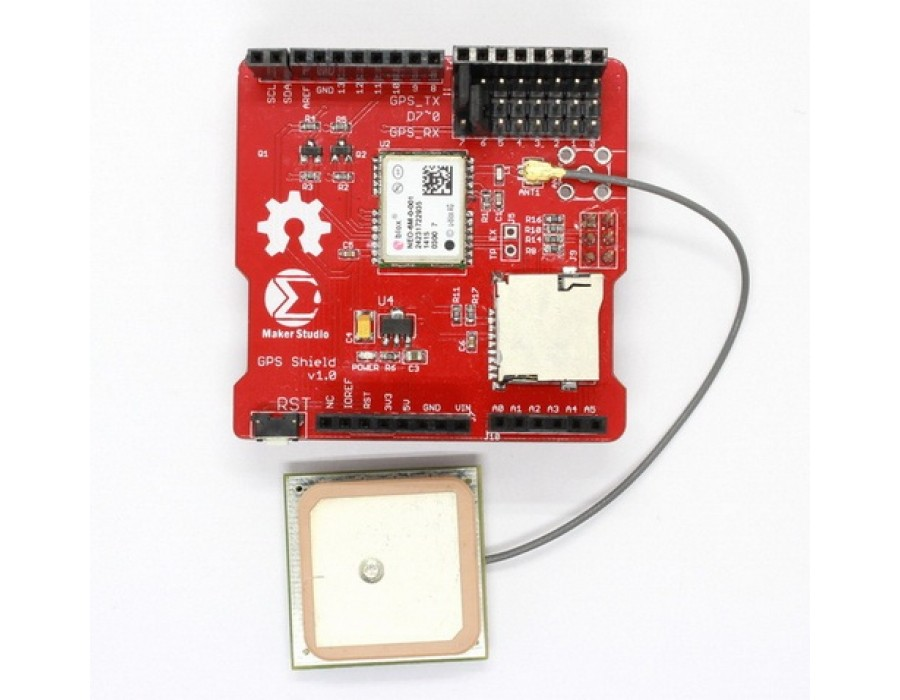 Gps shield for arduino with antenna fab to lab india